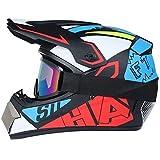 CZLWZZD Motocross-Helm Motocross-Helmset für Erwachsene Vollgesichts-MTB-Helmset Motorrad-Sturzhelm...