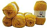 5 x 100 Gramm Chenille Baby goldgelb 100-37 Strickwolle, Babywolle , 500 Gramm Wolle Super Bulky