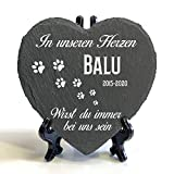 Individueller Personalisiert Herzform Tiergrabstein Schiefer Gedenkstein + Ständer für Hund, Katze...
