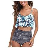 Xuthuly Frauen Streifendruck Bikini Set Strand Badeanzug Sommer Süße Rüschen Push-Up Bademode...