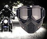 YIQI Motorcycle Maske Abnehmbaren,Motorrad Schutzbrille Staubschutz Brille mit abnehmbaren...