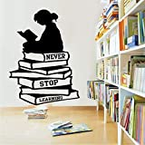 wukongsun Große Mädchen Bücher lesen nie aufhören zu Lernen Wandtattoos Schulbibliothek...
