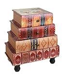 ts-ideen Kommode Bücherregal Schrank im Vintage Antik Buch Look Nachttisch Telefontisch