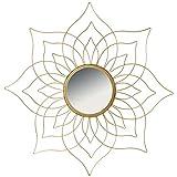 Hochwertiger Exclusiver Wandspiegel Rundspiegel Spiegel Dekospiegel Blüte Blume Sonne aus Metall in...
