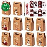 VSTON 16 Stück Geschenkbox Weihnachten und Geschenkanhänger für Weihnachten,Geschenktüten mit...