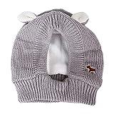 Fenteer Hundemütze Winter warme Kopfbedeckung für kleine bis große Hunde - Grau