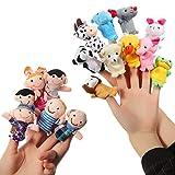 ThinkMax 16 Pcs Fingerpuppen - 10 Tiere + 6 Personen Familie Fingerpuppen Set fr Baby und Kinder