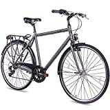CHRISSON 28 Zoll Citybike Herren - City One anthrazit matt 53 cm - Herrenfahrrad mit 7 Gang Shimano...