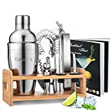 Cocktail Set, Godmorn Edelstahl Cocktail Shaker Set, 15 Teiliges Barkeeper Set mit Bessere Bambus...