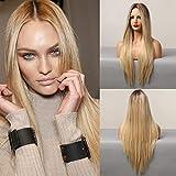 HAIRCUBE Lange gerade gerade blonde Perücke, synthetische Perücken für Frauen Natürliche braune...