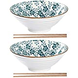 2X Japanische Ramen Schüsseln aus Keramik, Große Vintage Salatschüssel 900ML Kreative...