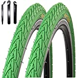 2 x Roverstone Fahrradreifen grün 28x1,4 Zoll (700x35c) inkl. Reifenheber