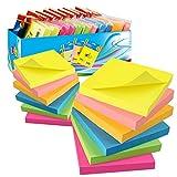 12 Blöcke Haftnotizen 76 x 76 mm Super Sticky Notes selbstklebende Haftnotizzettel, 12 Notizblöcke...