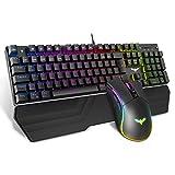 havit Mechanische Gaming Tastatur und Maus Set, RGB Hintergrundbeleuchtung QWERTZ (DE-Layout),...