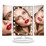 HAMSWAN Schminkspiegel, 3 Seiten Kosmetikspiegel Tischspiegel mit 21 LED faltbar dimmbar 180 Grad...