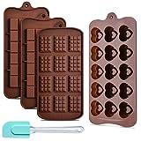 Ninonly 4Pcs Silikon Silikonbackform für Schokolade Pralinenform schokoladenform tafel 3 Arten von...