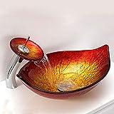 HomeLava Modern Glas Waschbecken Set Blatt Design Mit Wasserfall Wasserhahn