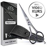 PURAVA Premium Haarschere - Extra scharfe Friseurschere inkl. edlem Etui - scharf & präzise -...
