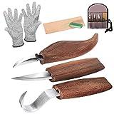 Holz-Schnitzwerkzeug Set, Holz-Schnitzmesser mit Schleifsteine, Professional Holzschnitzerei Messer...