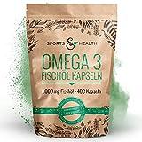 Omega 3 Fischöl Kapseln – 400 Kapseln Hochdosiert In Besonderer Qualität – 1000mg Omega3...