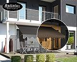 Rollolux LED Klemmmarkise Anthrazit/Grau 300 x 120 cm Markise Balkonmarkise Sonnenschutz - mit...