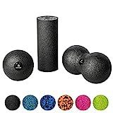 BODYMATE Faszien Mini-Set Schwarz - Mini-Faszien-Rolle L15xD6cm, Ball D8cm und Duo-Ball D8cm im Set