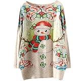 GreatestPAK Weihnachten Rundhals Pullover Damen Sweatshirt Cartoon-Druck Langarm Top,Beige,One Size...