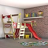 WICKEY Hochbett mit Rutsche CrAzY Smoky Kinderbett 90 x 200 Spielbett Kinder mit Lattenboden und...
