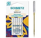 SCHMETZ Nähmaschinennadeln 5 Gold Stick-Nadeln | 130/705 H-ET | Nadeldicke: 90/14 | geeignet für...