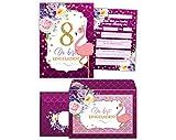 JuNa-Experten 8 Einladungskarten incl. 8 Umschläge zum 8. Kindergeburtstag Mädchen Flamingo...