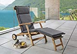 Beauty.Scouts Outdoor Collar Edition DEST Polster für Teak-Deckchair Deluxe, grau, 180 x 48 x 6 cm,...