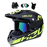 MRDEER Motocross Helm, Adult Off Road Helm mit Handschuhe Maske Brille, Unisex Motorradhelm Cross...
