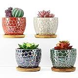 Luxspire Keramik Sukkulenten Töpfe, 4 Pack Blumentopf Pflanztopf mit Untersetzer Sukkulententöpfe...