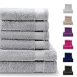 Twinzen Chemikalien-Frei Handtuch Set (6-Teilig) mit 4 Handtchern und 2 Badetchern, 100% Baumwolle -...