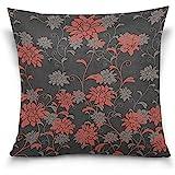 K.e.n Home Decor Kissenbezug mit Reißverschluss Rot und Schwarz Chrysantheme Throw Pillow Cover...