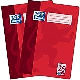 Oxford Schulhefte A4 kariert mit Rand, Lineatur 26, 16 Blatt, hochwertiges 90 g/m² Papier, rot, 2er...
