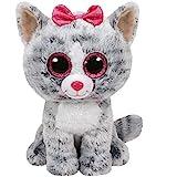 Carletto Ty Ty 37075 Kiki, Katze mit Glitzeraugen, Beanie Boos, 24cm, Grau, Mehrfarbig, 24 cm