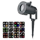 LLZI LED Projektor Lichter Mit 12 Motiven, Innen/Außen Wasserdicht LED Effektlicht, Halloween Deko,...