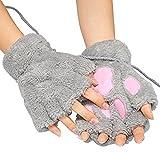 EQLEFse Fingerlose Handschuhe,EIN Paar Grau Frauen Br Plsch Katze Tatze Klaue halbe Finger Handschuh...