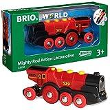 BRIO World 33592 Rote Lola elektrische Lok – Batterie-Lokomotive mit Licht & Sound –...