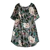 TWIFER Lose Blumenkleider Damen Beiläufiges Sommer Strand Langes Hülsen T Shirt Kleid(X3-Grau,2XL)