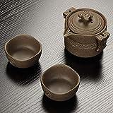 Miwaimao Vintage Steinzeug Reise Tee Set 2 Tassen + 1 Kanne, handgemachte Keramik Teekanne,...