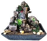 Feng Shui Zen-Brunnen aus Polyresin-Kunststein mit LED-Beleuchtung