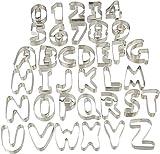 Relaxdays 10024276, silber Plätzchen Ausstecher, 36-teiliges Set, Ausstechformen Buchstaben &...