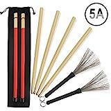 5A Drumsticks 2 Paar klassische hochwertige Ahorn-Drum-Stick-Sets mit einziehbarer Drahttrommelbrste...