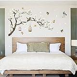 TTbaoz Große baum blume wandaufkleber vogelkäfig vögel wohnkultur tapeten für wohnzimmer...