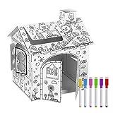 Kinder-Spielhaus, Kritzeleien, Zeichenhaus/Malen, für drinnen und draußen, Karton-Spielhaus für...