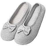 Solshine Damen Baumwolle Geschlossene Hausschuhe Ballerina Slippers T002 Grau L/39/40EU
