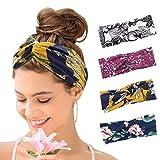 KAVYA 4er Boho Stirnband Damen Kopfband Haarband Turban Elastische Weiche Bohmisches Stirnband Blume...