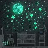 yotame Leuchtsticker Wandtattoo Wandsticker, 435 Stück Leuchtaufkleber Sternenhimmel Leuchtsterne...